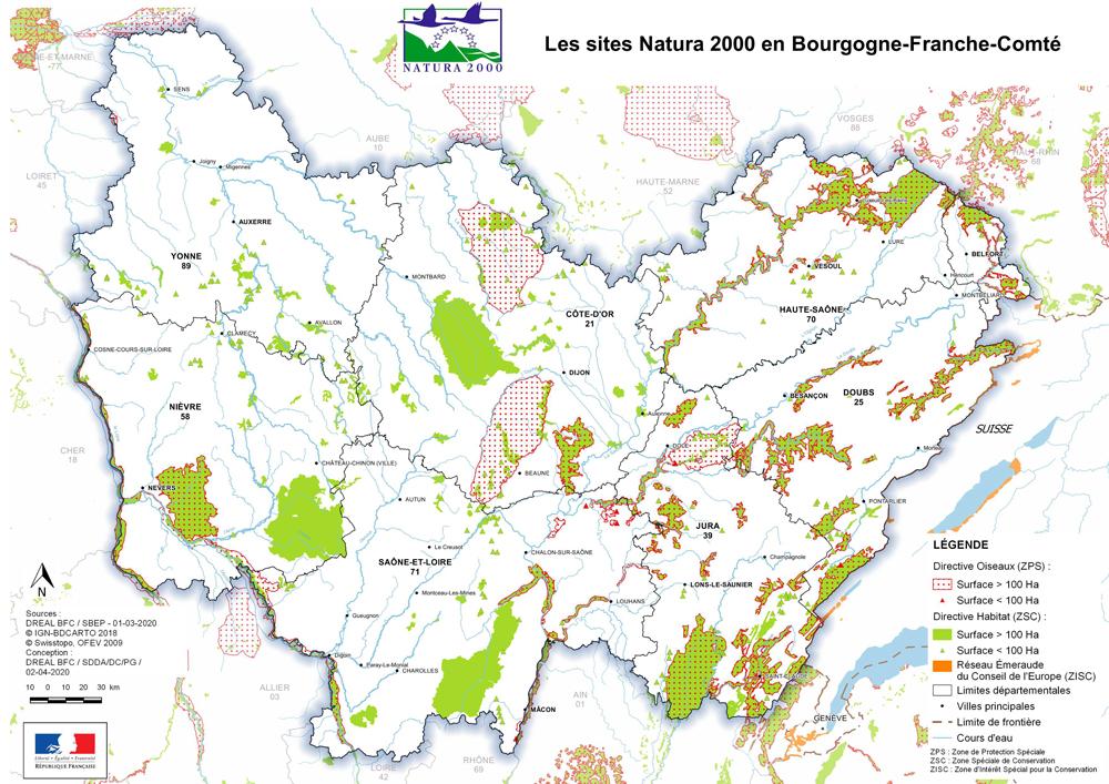 carte sites Natura 2000 BFC
