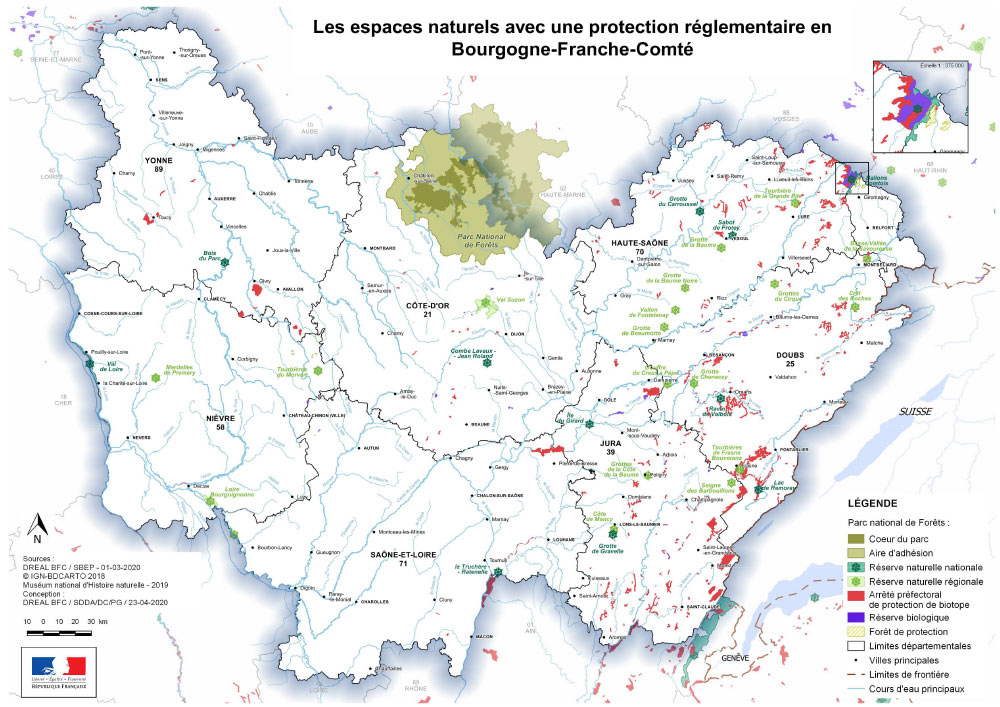 carte aires protegees BFC