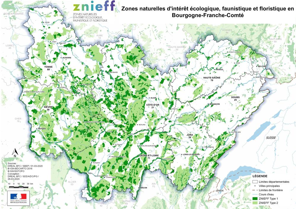Carte zones vertes BFC